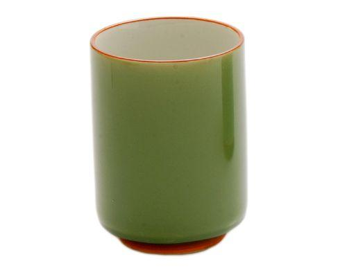 Green Japanese Tea Cup with White Interior