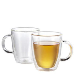 Double walled insulated borosilicate clear glass tea cup / mug