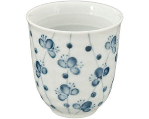 Japanese Tea Cup with Blue Cherry Blossoms on a White  Cup