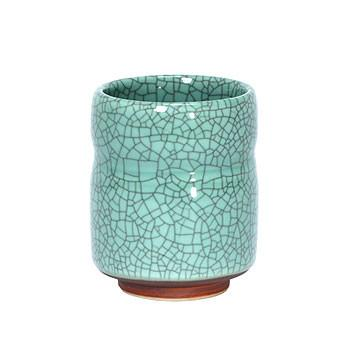 Crackle finish Japanese tea cup - Celedon Green