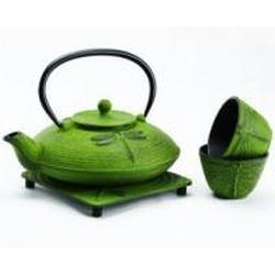 Japaneses cast iron tea pot set with 2 matching tea cups and trivet boxed set - green dragonfly