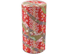 Red Japanese Washi Tea Tin