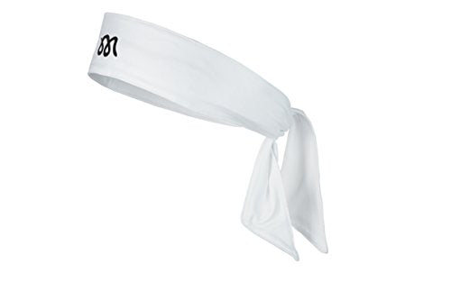 Mamba Sportswear Head Tie Headband - Stylish Single Color/Pattern Unisex Sweatband for Running, Crossfit, Tennis, Basketball & More - Moisture Wicking & Stretch Fabric (White)