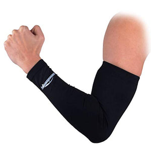 COOLOMG (1 Pair) Solid Color Pro-Fit Sun Protection Cooling Compression Arm Sleeves, Youth & Adult Sizes Black XL