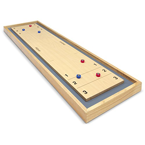 GoSports Shuffleboard and Curling 2 in 1 Table Top Board Game with 8 Rollers - Great for Family Fun