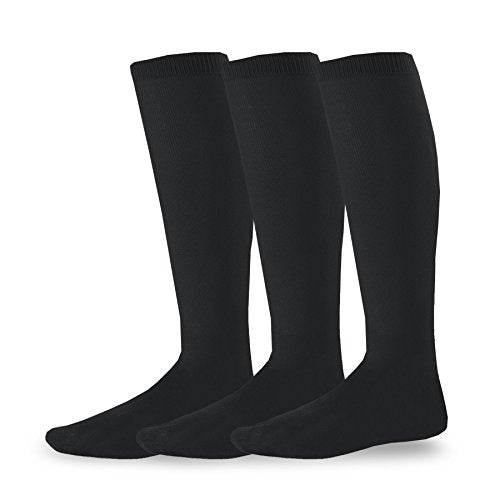 TeeHee Acrylic Unisex Soccer Sports Team Cushion Socks 3 Pack (Youth (5-7), Black)
