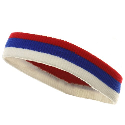 Tri Color Head and Wrist Band Set-Red Royal White