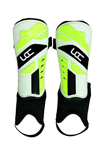 UCC White w/Neon Green Shin Guard with Ankle
