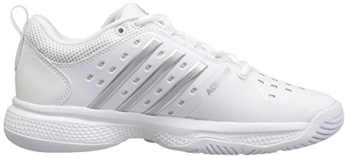 adidas Women's Barricade Classic Bounce Tennis Shoes, Footwear White/Silver Metallicallic/Light Grey Heather Solid Grey, 6.5 M US