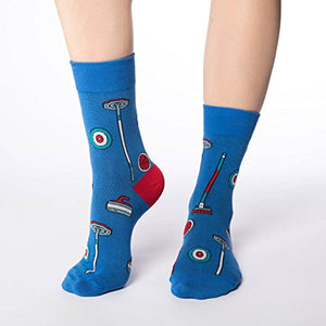 Good Luck Sock Women's Curling Crew Socks - Blue, Adult Shoe Size 5-9