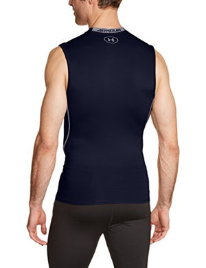 Under Armour Men's HeatGear Armour Sleeveless Compression Shirt, Midnight Navy/Steel, Large