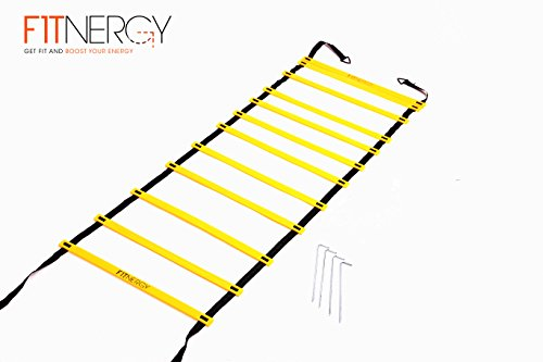 Speed and Agility Workout Ladder Training Equipment Set by F1TNERGY - Yellow 12 Rung Adjustable with Carrying Bag + 10 Speed Cones (5 Orange + 5 Yellow) + 4 Pegs & D-Rings - Soccer Training Football Gear Hockey Mask track field kids hurdles sports basebal