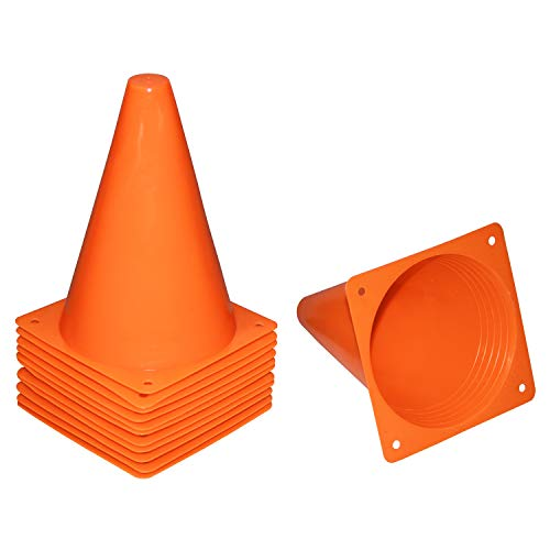 Reehut 7.5 Inch Plastic Sport Training Traffic Cone (Set of 12, Orange)