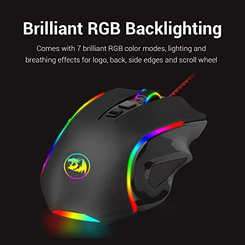 Redragon M602 Wired Gaming Mouse, RGB Spectrum Backlit Ergonomic Mouse, Programmable with 7 Backlight Modes up to 7200 DPI for Windows PC Gamers - Black