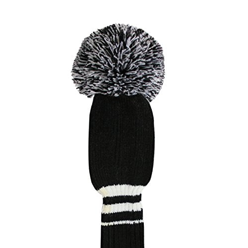 Black Color White Stripes Golf Pom Pom Head Covers Set of 3 for Wood Clubs