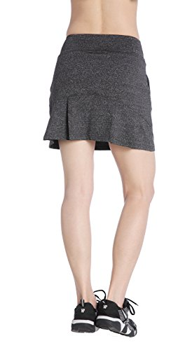 EAST HONG Women's Tennis Skorts Exercise Golf Running Skirt (Small, Gray-Black)