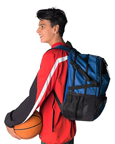 Athletico National Soccer Bag - Backpack for Soccer, Basketball & Football Includes Separate Cleat and Ball Holder - for Youth, Kids, Girls, Boys, Men & Women (Blue)