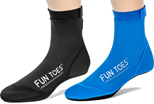 Fun Toes 2 Pairs Beach Socks for Volleyball Soccer, Camping, Rafting, Diving and All Sand Sports (Black-Blue, S Kids 4.5-6/Women 6.5-8)