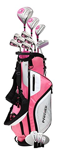"Top Line Ladies Pink Right Handed M5 Golf Club Set for Petite Ladies (Height 5' to 5'3""), Includes: Driver, Wood, Hybrid, 5,6,7,8,9, PW Stainless Irons, Putter, Graphite Shafts, Bag & 3 HCs"