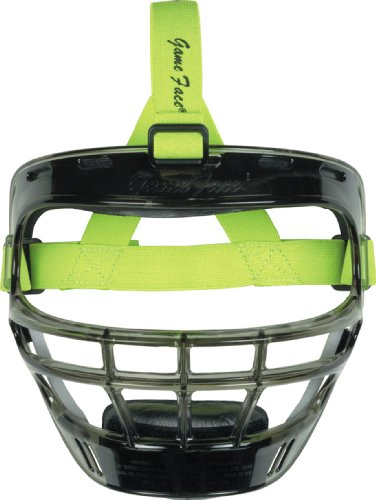 Markwort Game Face Sports Safety Mask (Smoke with Lime Green Ponytail Harness, Large)