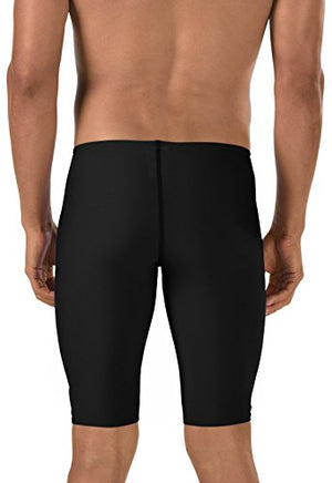 Speedo Men's Race Endurance+ Polyester Solid Jammer Swimsuit, Black, 38