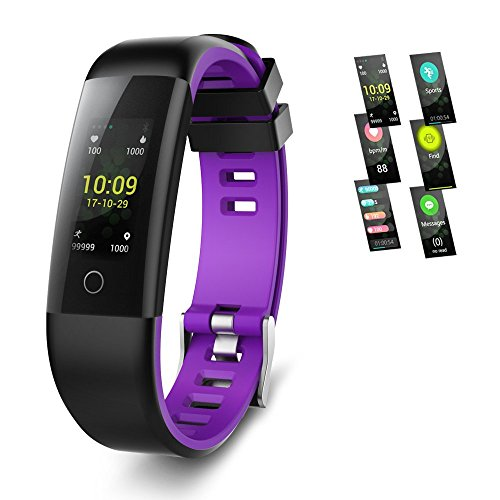 Moko Smart Fitness Tracker Watch, Activity Tracker Watch Smart Bracelet with Heart Rate Blood Pressure Monitor, Color Screen Pedometer Watch,IP67 Waterproof Smart Band (G16-Purple) (Purple-Black)