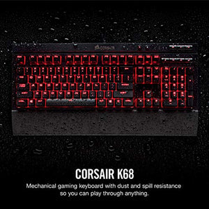 Corsair Gaming K68 Mechanical Keyboard, Backlit LED, Cherry MX Red, Dust and Spill Resistant - CH-9102020-NA