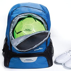 Athletico Youth Soccer Bag - Soccer Backpack & Bags for Basketball, Volleyball & Football | for Kids, Youth, Boys, Girls | Includes Separate Cleat and Ball Compartments (Blue)