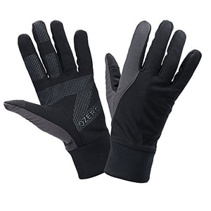 OZERO Running Gloves for Women, Winter Workout Running Workout Glove |Sensitive Cell Phone Texting| - Non-Slip Silicone Gel Palm and Waterproof Fabric - Hand Warmers in Cold Weather - Black(X-Large)