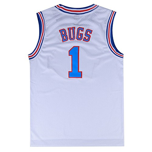 Mens Basketball Jersey 90S Moive Bugs Bunny #1 Space Jam Shirt (White, Small)