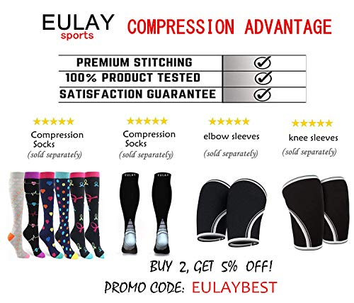 6 Pairs Compression Socks (15-20mmHg) For Women and Men - Great for Medical, Circulation,& Recovery,Nursing, Travel & Flight Socks - Running & Fitness