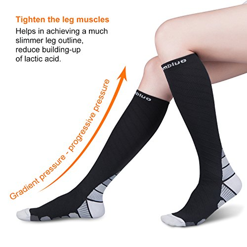 Cambivo 2 Pairs Compression Socks for Women & Men, fit for Running, Athletic Sports, CrossFit, Flight, Travel, Pregnancy, Nurses, Enhance Circulation & Speed-up Muscle Recovery (20-30 mmHg) ( Black/Gray, S/M)