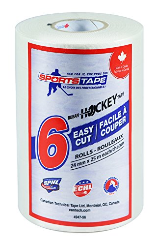 SportsTape - Easy Cut Cloth Hockey Tape, 6 Rolls, 24mm x 25 Metres, White (Made in Canada)