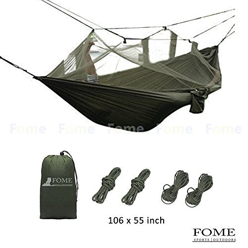 Camping Hammock, FOME SPORTS|OUTDOORS NEW VERSION Large Size Portable Parachute Fabric Hammock Hanging Bed With Unremoveable Mosquito Net 106 x 55 inch 440lbs Capacity for Backpacking Travel Yard