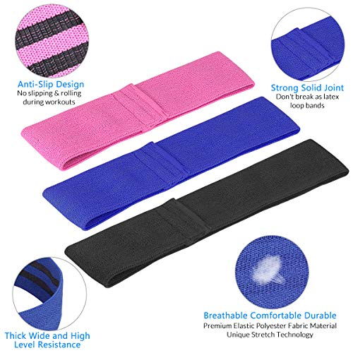Resistance Workout Booty Hip Exercise Bands Fitness Loop Circle Bands with 3 Resistance Level Non Slip Elastic for Legs Shoulders Arms Butt Activate Glutes Building Squats - Set of 3