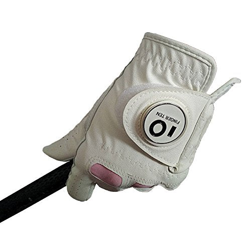 Finger Ten New Women Ladies All Weather Cabretta Leather Grip Golf Glove with Magnetic Ball Marker Left or Right Hand Lh Rh Value Pack Set (Small, Worn on Right Hand)