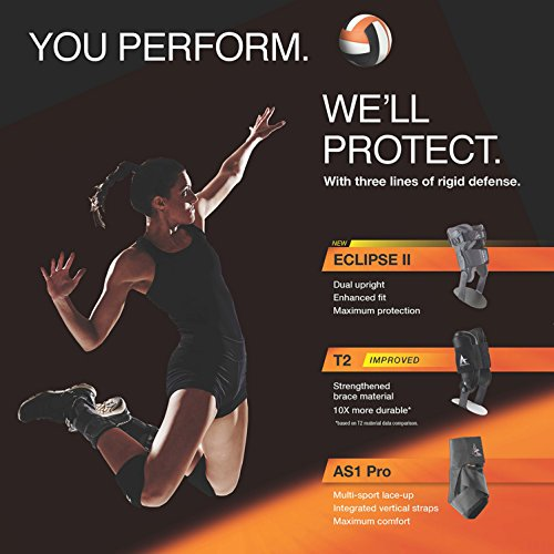 Active Ankle T2 Rigid Ankle Brace For Injured Ankle Protection and Sprain Support, Black, Medium