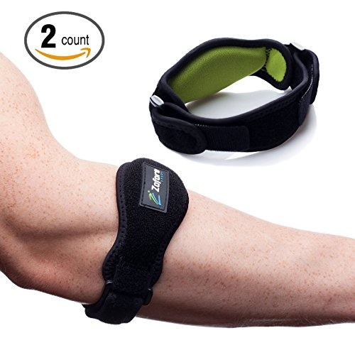 Tennis Elbow Brace With Compression Pad 2-Pack by Zofore - Effective Pain Relief for Tennis & Golfer's Elbow for Men & Women
