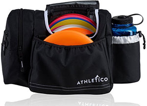 Athletico Disc Golf Bag - Tote Bag for Frisbee Golf - Holds 10-14 Discs, Water Bottle, and Accessories (Black)