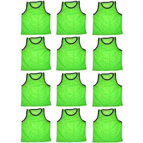 Blue Dot Trading High Quality 12 Green Adult Sports Pinnies-12 Scrimmage Training Vests
