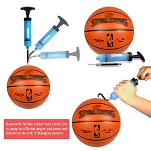Dimples Excel Ball Pump for Soccer Basketball Football Volleyball Water Polo ball, Needles and Nozzles Included (1 Pack - Blue)