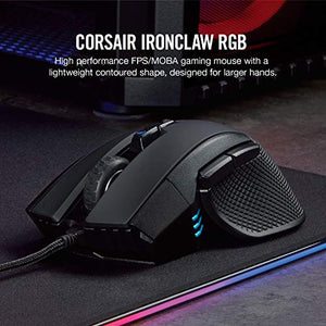 Corsair Ironclaw RGB, FPS/Moba Gaming Mouse, Black, Backlit RGB LED, 18000 DPI, Optical - CH-9307011-NA