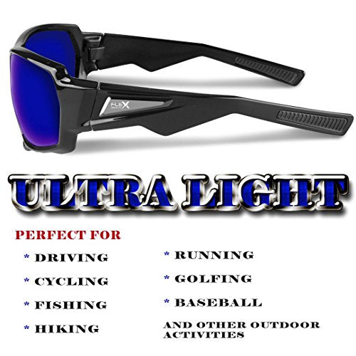 FLEX Stealth - Polarized Sports Sunglasses for Men or Women, Ultra Tough TR90 Frame and 100% UV protection lens, Sunglasses for Cycling Driving Fishing Ski Running Baseball Golf Biking and other Outdoor Activities. (Mirrored Blue Lens /Black Frame)