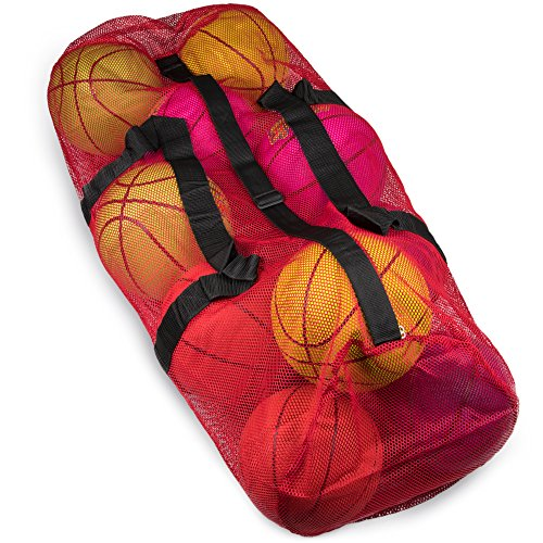 "39"" Mesh Sports Ball Bag with Adjustable Shoulder Strap, Oversize Duffle - Great for Carrying Gym Equipment, Jerseys, Laundry by Crown Sporting Goods (Red)"