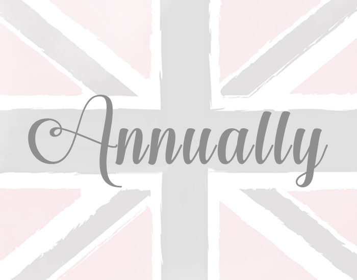 Annually: A one-time payment to receive British Beauty Box for a whole year!