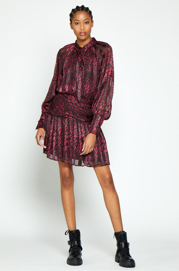 Beth Dress, Magenta Leopard