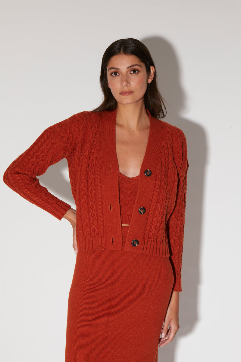 Emily Cardigan, Burnt Orange - Arabesque Knit