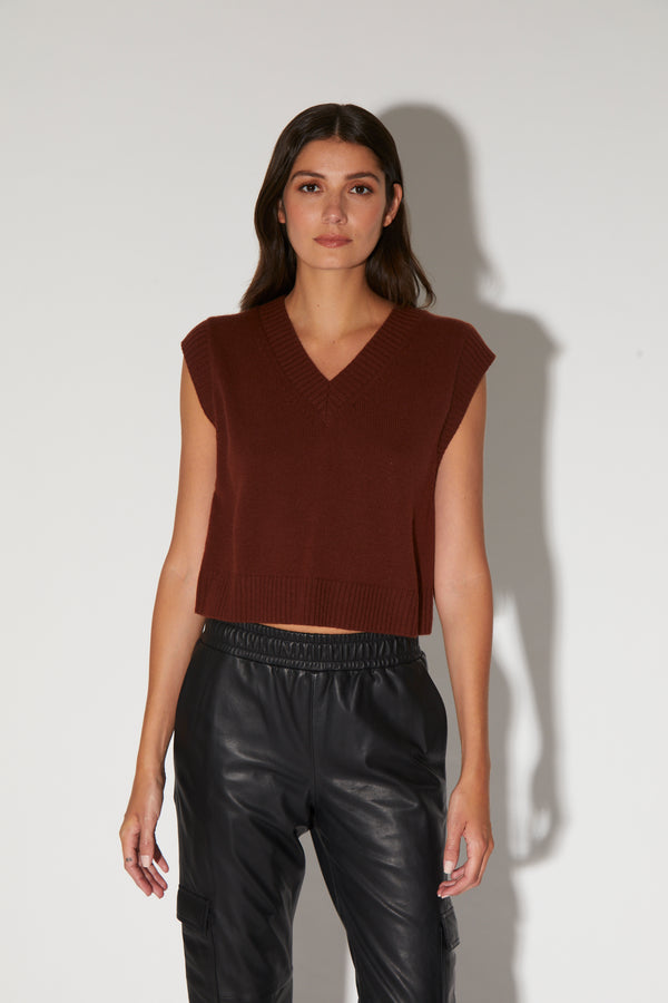 Carley Top, Walnut - Elite Knit Cashmere