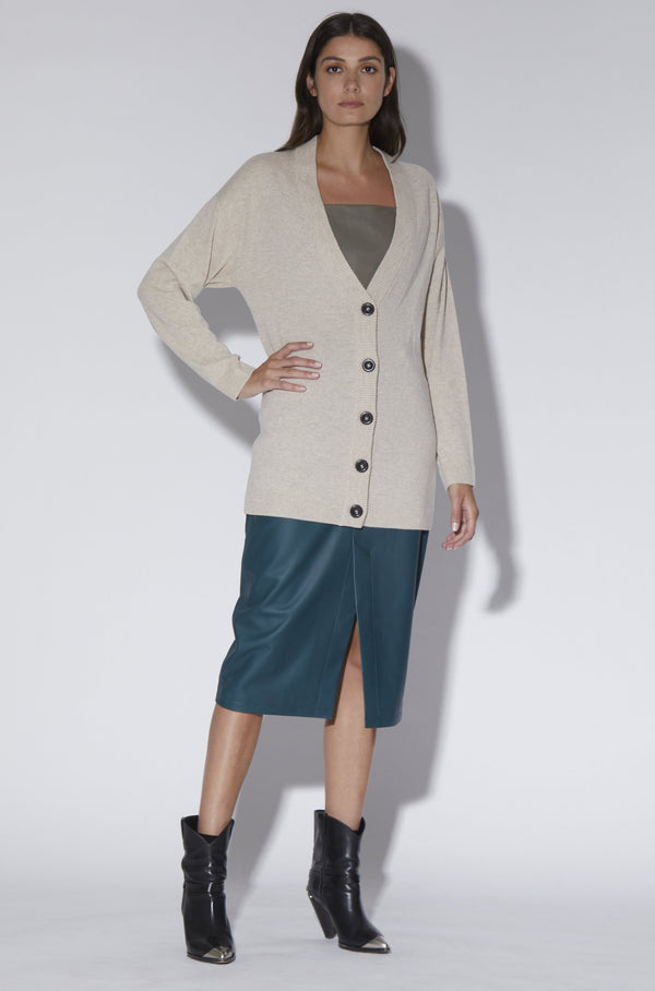 Demi Cardigan, Oatmeal - Elite Knit Cashmere