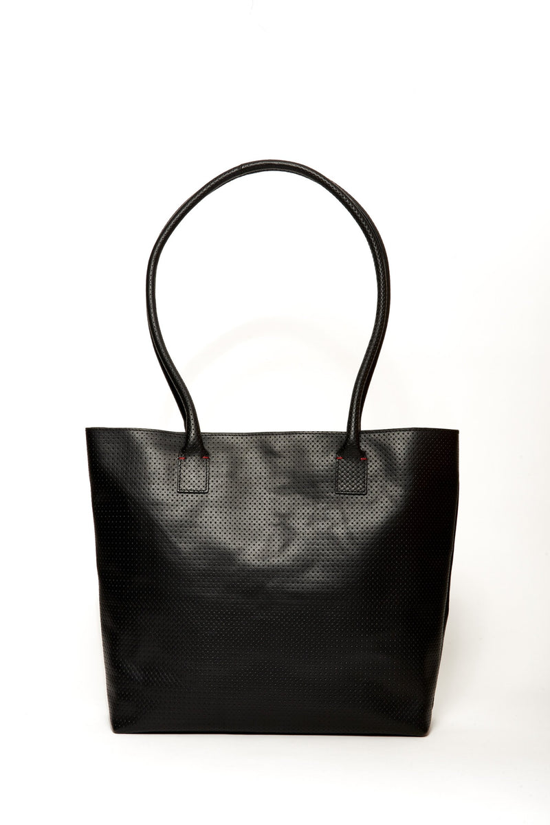 Oversized Kate Tote, Black Perforated
